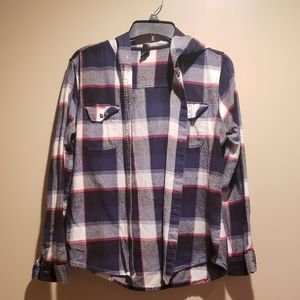 Empyre large button down flannel with hood
